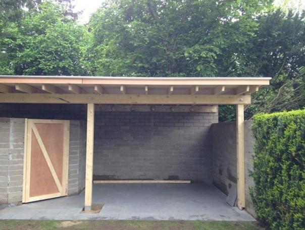 Tuinhuis/overkapping met Cederhout,Royal Epdm en kraaltrim